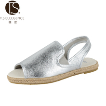 Fashion Brand Silver Pu Leather Jute Rope Sole Open Toe Women's Flat Espadrille Sandals