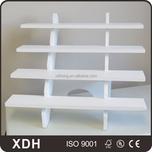 Simple design home furniture white wooden 4-tier bookshelf