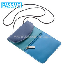 Ladies Small Soft Blue multicolour Leather Travel Purse