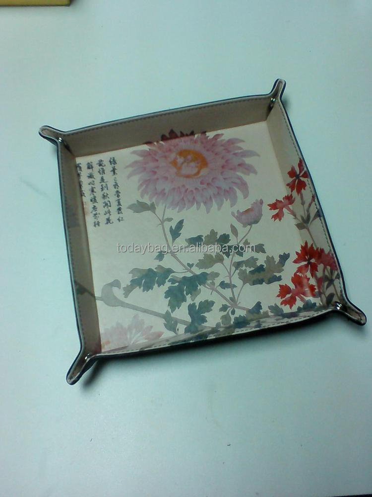 Soft pu custom leather tray makeup tray coin tray