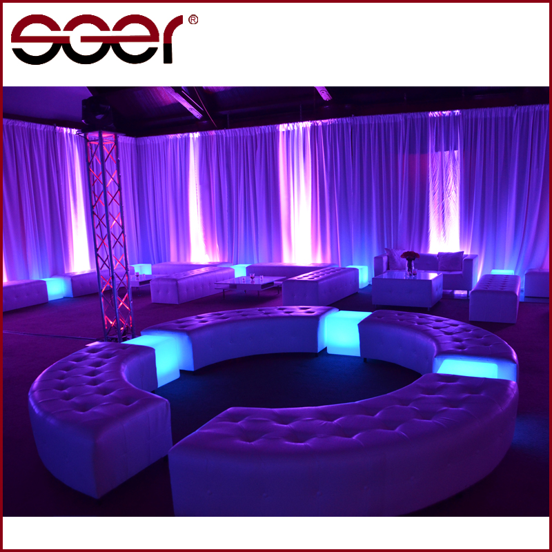 Wedding banquet sectional leather half moon sofa