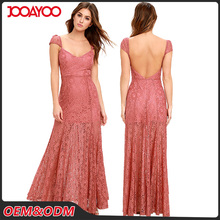 Elegant Embroidered Pink Halter Lace Maxi Dresses Cap Sleeves Sexy Womens Evening Dress
