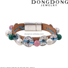 Hot selling superior quality personalized thai magnetic clasp leather rope bracelet handmade