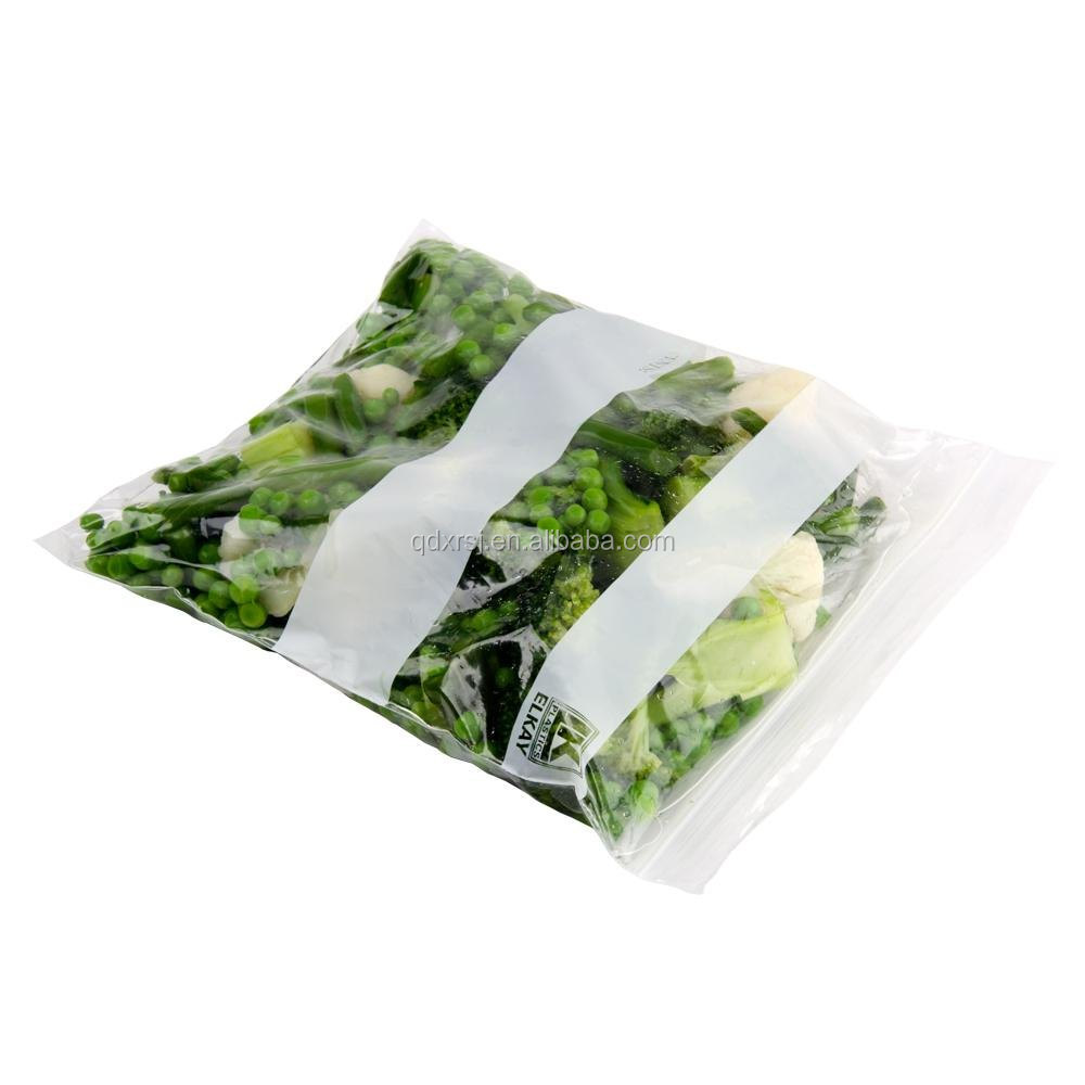 Quart vegetable ziplock storage bags with two white panels for writing on