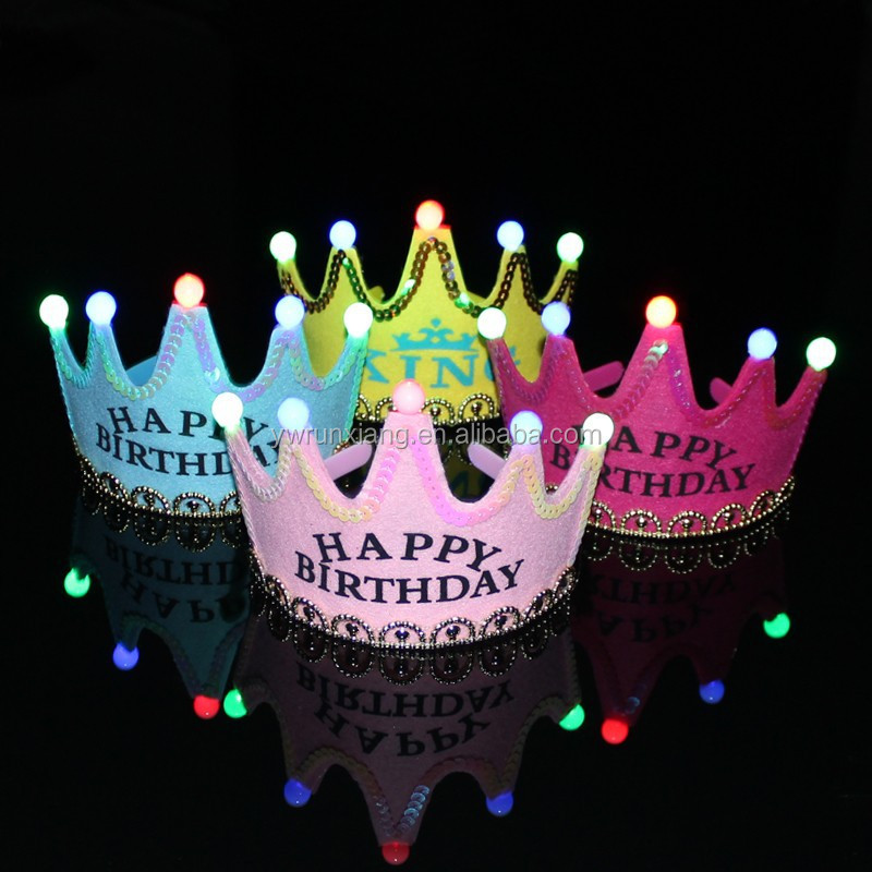 Birthday light up party hats with led lights,prince/king/princess crown for kids,LED tiara crown