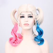 high quality New Arrival Film Movie Suicide Squad Harley Quinn Cosplay Costume Wig Batman Clown Curly Gradient Wigs