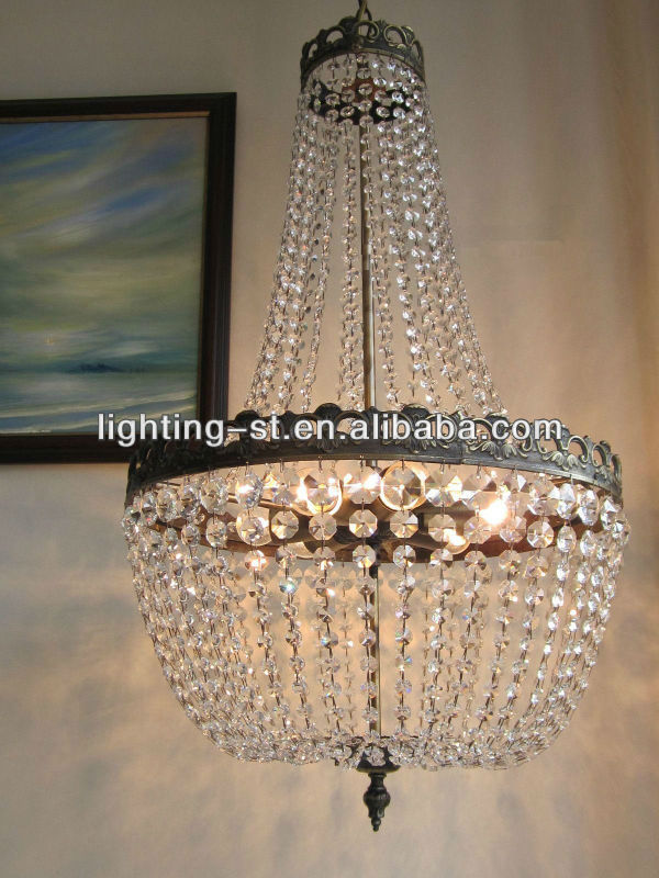 Large French K9 Crystal Chandelier/ Lustre Classic Empire Purse Lamp Light ST5660