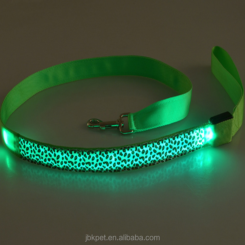 JBKPET 2018 Glow in the dark angels pet dog LED leashes oem dog pet products cheap dog LED leashes