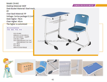 MDF Material School Desk Chair with steel tube frame