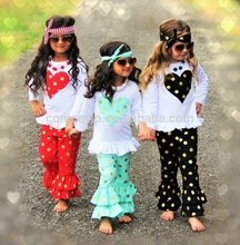made in china yiwu multi color toddler girl clothes set loving heart boutique set polka dots ruffle pant outfits