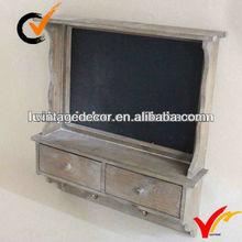 Antique wooden wall shelf with blackboard and drawer