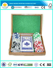 wooden case poker sets with poker chips,dices and wooden poker box ,poker sets with chips