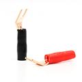 High Quality Pure Red Copper Gold plated Spade Plug Speaker Cable Spade Connector Fork Terminal Plug