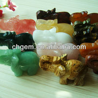 Semi Precious Stone Elephant Statue For
