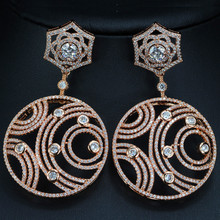 Fashion Fine Jewelry Women Round Shape Geometric Pattern Brass Metal Rose Gold Plated Cubic Zirconia Eardrop Earrings