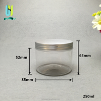 high quality 250ml aluminium cap refillable food tea herb dry flower spice storage containter plastic candy jar