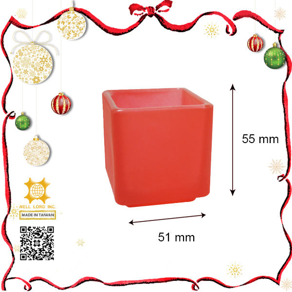 2015 new christmas product red frost glass square candle holder