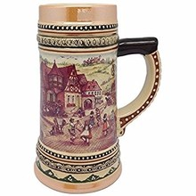 German style modern embossed customized ceramic beer mug stein