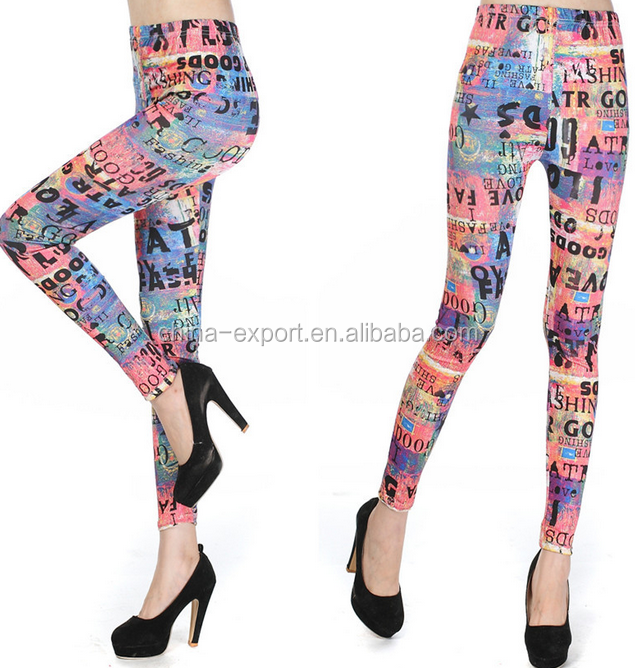 9255 2015 wholesale hot sale fashion autumn new sexy women european Orange fluorescent English letters pencil pants