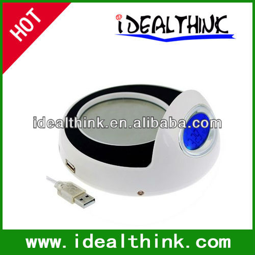 4 Port USB 2.0 Hub Cup Warmer with LCD Clock