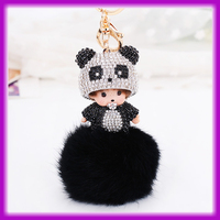 Wholesale New Design Cute Black and White Fur Ball Panda Monchichi Keychain