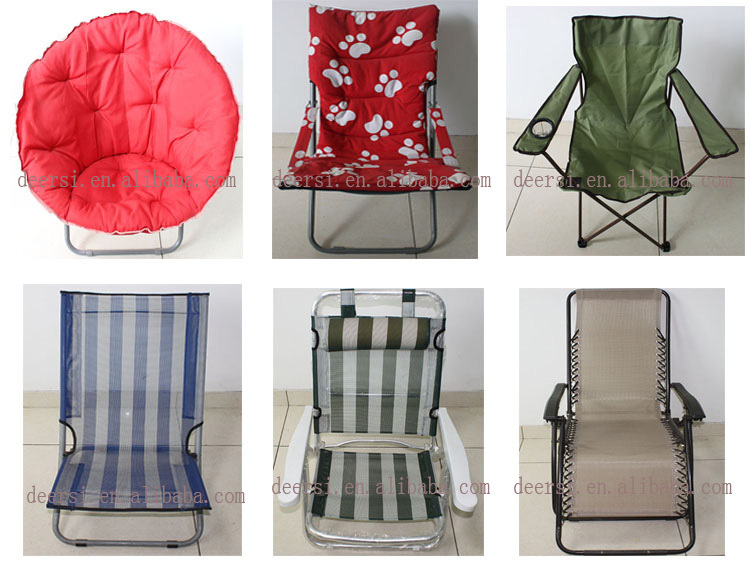 Durable thick cushion folding fabric leisure chair without arms