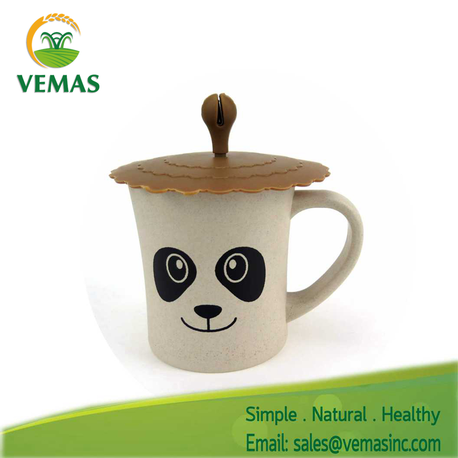 Factory direct wholesale Printed panda shape rice husk fiber plastic coffee cup with lid
