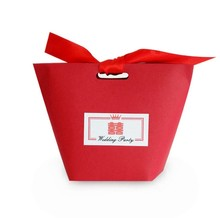 Yilucai Confectionery Boxes Bags Lovely Red Wedding Favor Candy Box with Ribbon
