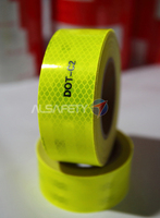 Save 60% fluorescent yellow green reflective tape/US DOT-C2 similar to 3M durability 10 years prismatic