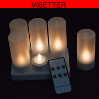 6pcs/set LED flickering rechargeable tea lights/candle set, wax less, flameless