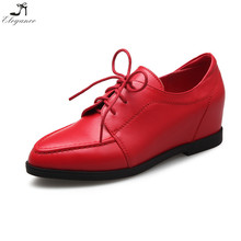 Top Quality Red Elegant Leather Lace Up Strap Flat Heighten High Casual No Heel Hidden Wedge Shoes For Ladys