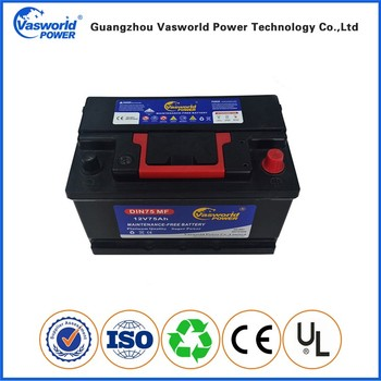 12V used AUTO battery battery DIN 12v 75ah MF car battery