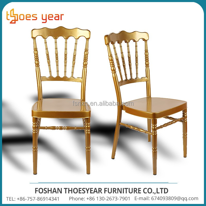 Wholesale stacking gold steel metal wedding chiavari chair for hotel