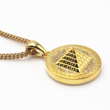 Egyptian Pyramid Necklace 316L Stainless Steel Wheat Chain Egypt Coin Pendant Jewelry