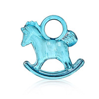 Peacock blue Rocking Horse Acrylic Charm Pendants 29mmx27mm