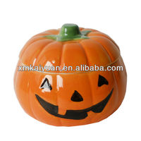 Halloween Dolomite Pumpkin Lidded Bowl