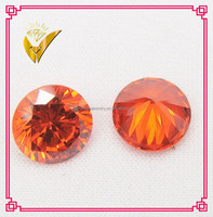 hot sale orange gemstones artificial precious stone, machine cut charming cz gems make in china
