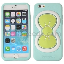 3D Bowknot Shape Design Soft Silicone Case for iPhone 6 4.7 inch with Kickstand