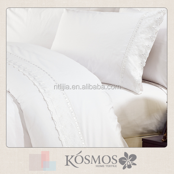 KOSMOS polycotton 50%/50% embroidery lace embroidered ribbon bedding set USA
