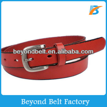 Beyond Women's Red Color Full Grain Cowhide Leather Belt with Polished Pin Enclosure