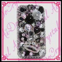 Aidocrystal black and white bling rhinestones crown rose decorated case for iphone 5