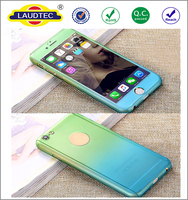 Gradient Color Full-body Protective PC Hard Back Cover Mobile Phone Case With Temperd Glass Screen Protector For Iphone 6/6s