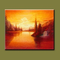 sunrise scenery oil painting for wall