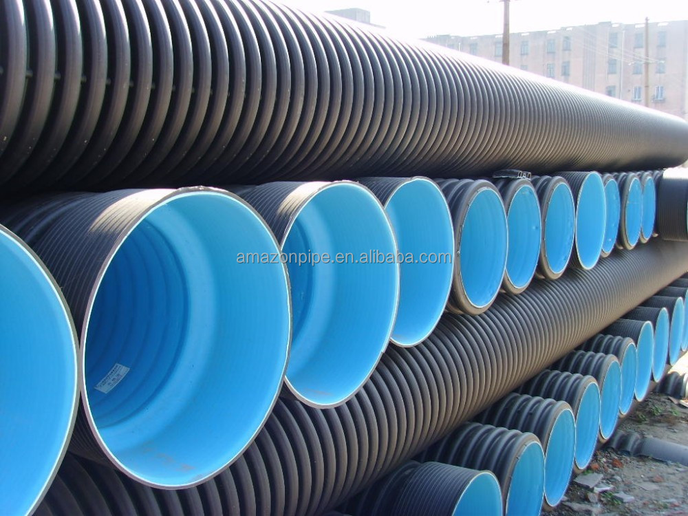 Light weight HDPE double wall pipe PE100 corrugated drain pipe