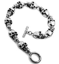 Cheap Chain Wholesale Halloween Skulls Jewelry 316l Stainless Steel Gothic Link Wrist Skull Bracelet