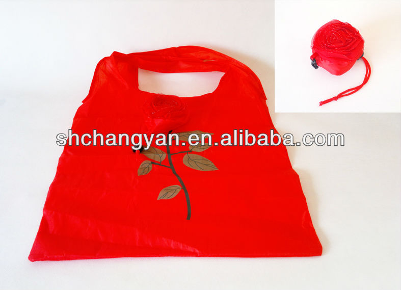 promotional polyester Foldable strawberry shopping bag