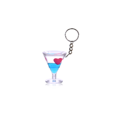 Keyring in Martini Wine Glass Shape Liquid Floating HS Code for Keychain