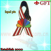 Patriotic metal flag ribbon collar pin