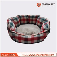 Luxury cotton printed oval pet clamshell bed for dog and cat