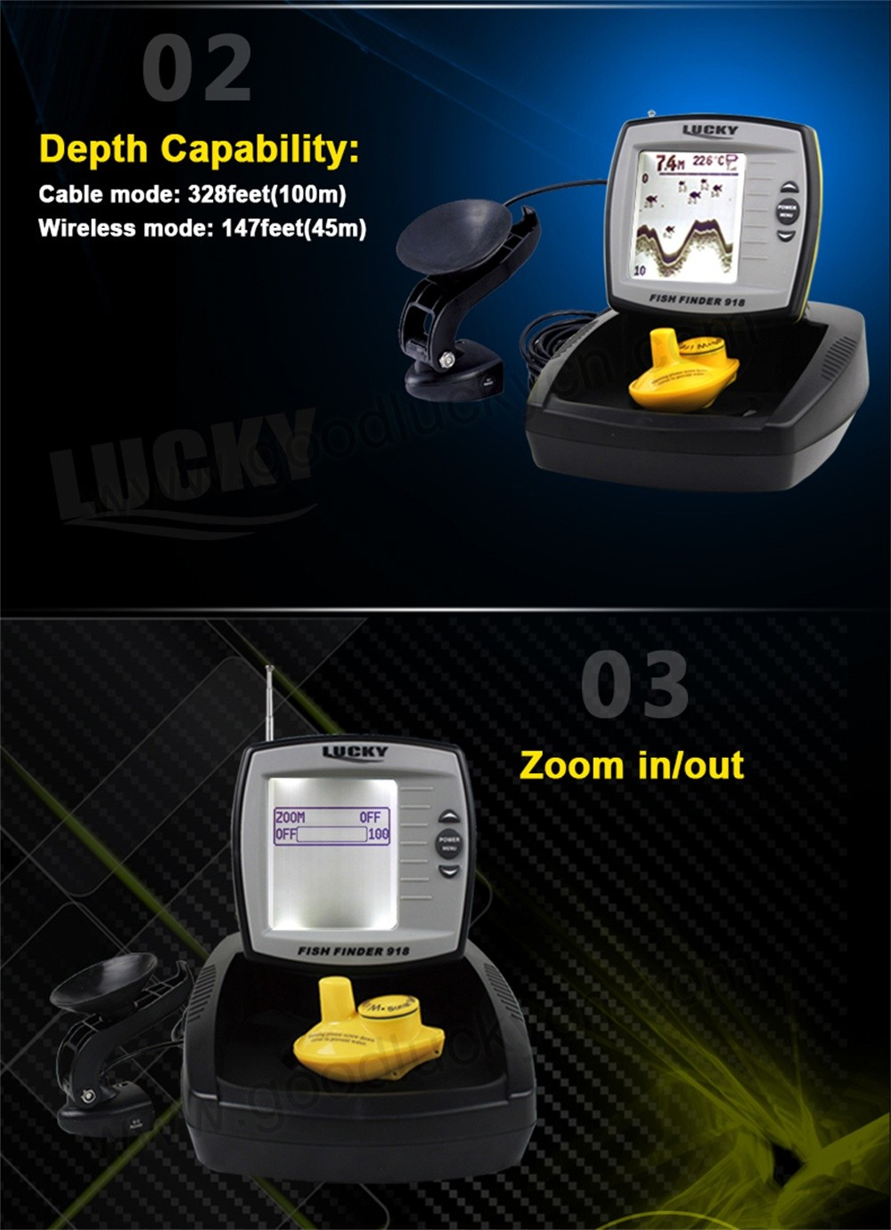 Boat Fishfinder,Black and White Fishfinder,Wireless Fishfinder